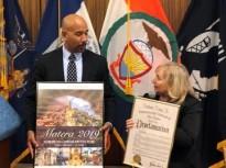October 2019 - Bronx Borough President Rubin Diaz, Jr. with Board member Nancy Indelicato presenting the IHCC-NY, Inc. Poser 2019 at his Italian Culture Month Celebration.