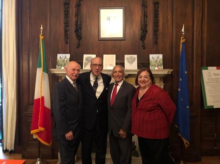 Leonardo da Vinci Awardee Stephen Briganti surrounded by Uff. Mico Licastro, Comm. Joseph Sciame and Maria Marinello, Esq. at the Consulate of Italy ceremony hailing Columbus Day weekend.