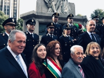 October 2019 – Cav. Angelo Vivolo, Columbus Day Parade Chairman, beams with others at Columbus Circle Statue ceremony.