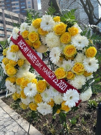 Wreath placed at NYC Dante Park, near Lincoln Center in honor of the 700th Anniversary year dedicated to Dante Alighieri.