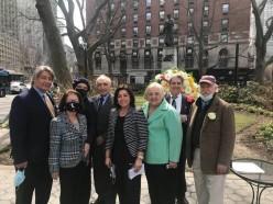 Members of the Board of Directors of the IHCC-NY, Inc. celebrate the 700th Anniversary Year of Dante. Some of those gathered were: William Russo, Rosa Casiello O'Day, Lucrezia Lindia, Joseph Sciame, Josephine Maietta, Maria Marinello, Anthony Tamburri and Mico Licastro.
