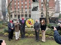 Cav. Dr. Anthony Tamburri, Uff. Mico Licastro, Mayor Bill de Blasio, Comm Joseph Sciame and Deputy Consul General Silvia Limoncini at Dante statue near Lincoln Center.